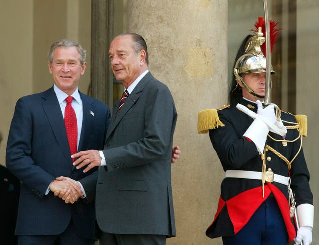 George W Bush with Jacques Chirac in 2004
