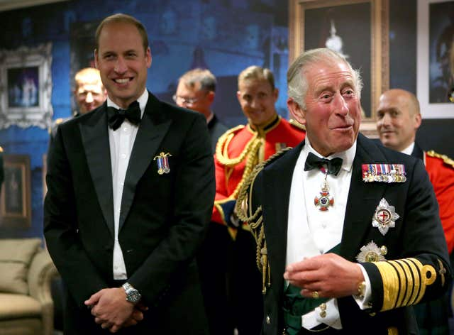 The Prince of Wales and the Duke of Cambridge, at a reception after the Royal Edinburgh Military Tattoo at Edinburgh Castle (Jane Barlow/PA)