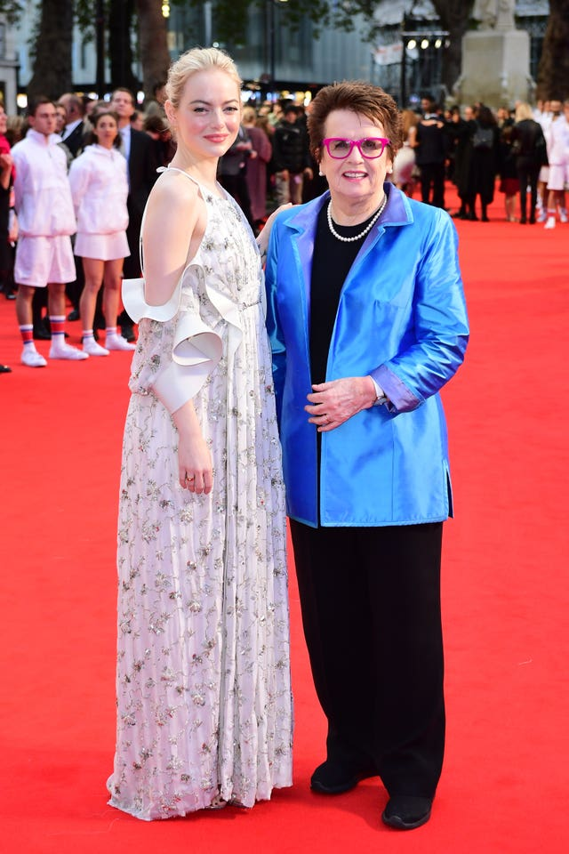 Emma Stone, left, and Billie Jean King attending the premiere of Battle of the Sexes held at Odeon Leicester Square, London
