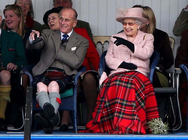 The Queen and the Duke of Edinburgh attending the Braemar Gathering