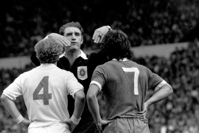 and Liverpool's Kevin Keegan after a fight in the 1974 Charity Shield