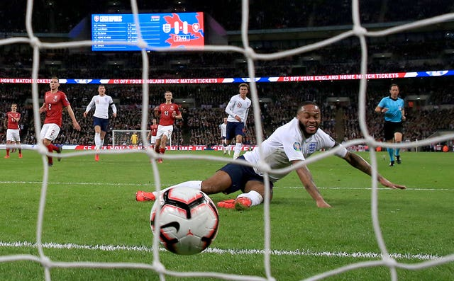 Raheem Sterling scores England's first goal of the game against the Czech Republic