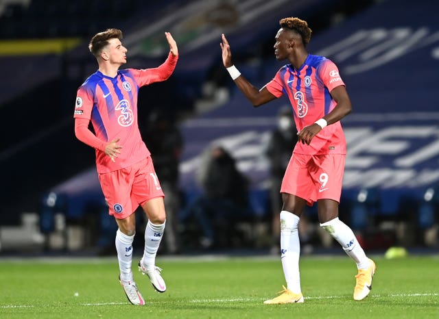 Chelsea's Tammy Abraham, right, and Mason Mount