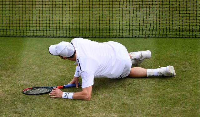 Andy Murray took a tumble on Court Two