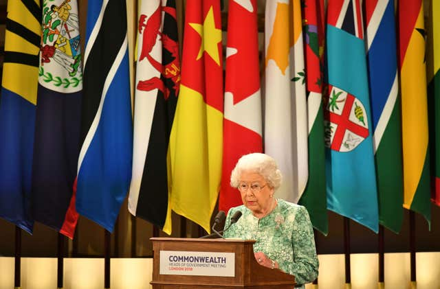 The Queen gives the opening address at the Commonwealth Heads of Government Meeting staged in the UK in 2018. Dominic Lipinski/PA Wire