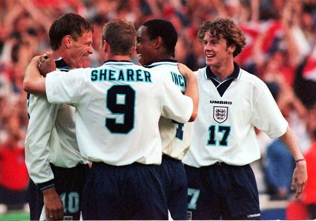Teddy Sheringham celebrates after scoring in the 4-1 win over Holland during Euro 96