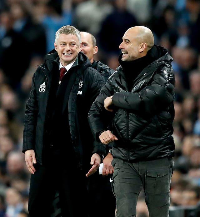 Guardiola (right) has high regard for United boss Ole Gunnar Solskjaer
