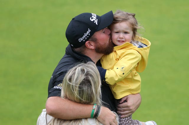 Shane Lowry with his wife, Wendy, and daughter, Iris, after winning The Open