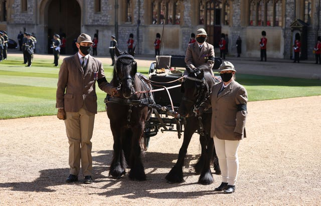 Fell ponies Balmoral Nevis and Notlaw Storm and the Duke of Edinburgh's driving carriage in the Quadrangle of Windsor Castle