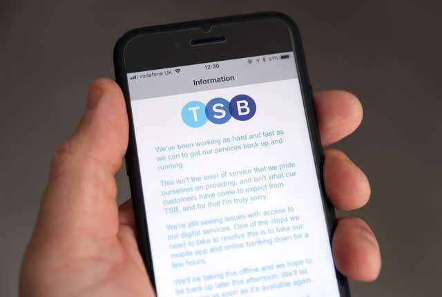 The TSB app was reported to be running at 90% capacity (Andrew Matthews/PA)