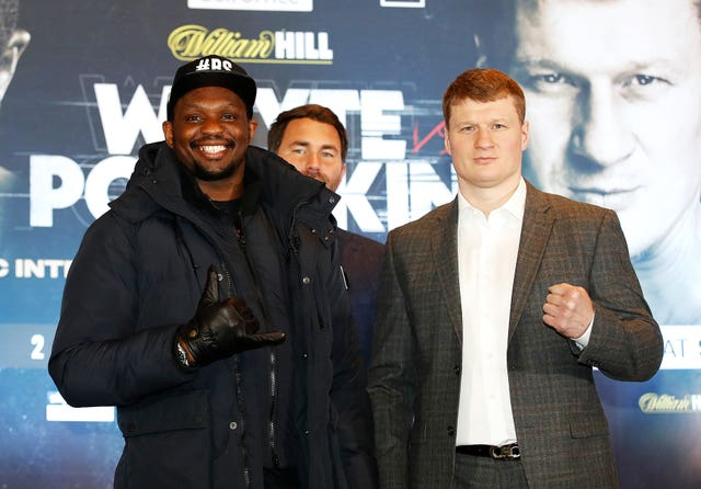Dillian Whyte, left, and Alexander Povetkin are scheduled to fight again on March 27 in Gibraltar (Martin Rickett/PA)