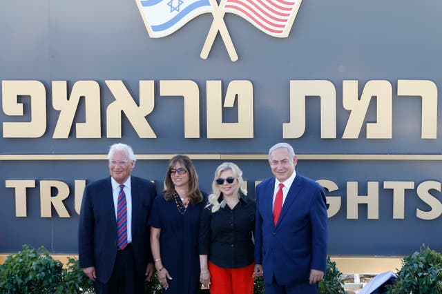 Israeli prime minister Benjamin Netanyahu, right, his wife Sara, centre right, United States Ambassador to Israel David Friedman, left, and his wife Tammy during the inauguration