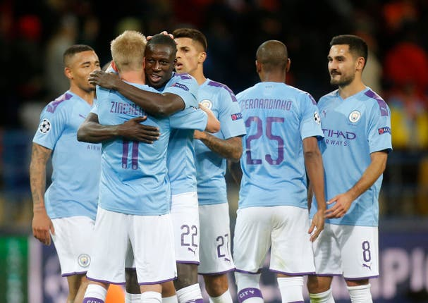 Manchester City players celebrate Wednesday night's victory