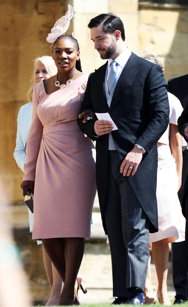 US tennis player Serena Williams and her husband Alexis Ohanian arrive at St George's Chapel in Windsor Castle for the wedding of Prince Harry and Meghan Markle