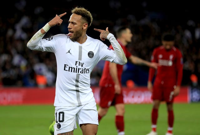 Neymar celebrates scoring against Liverpool