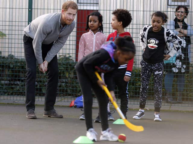 Youngsters showed the prince their hockey skills
