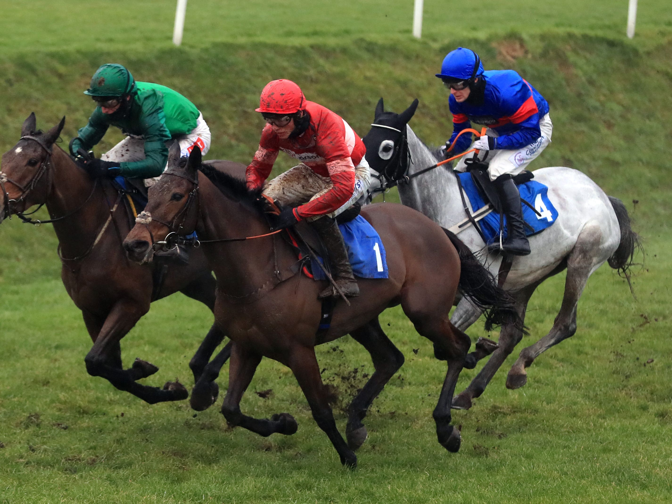 Zambella and Daryl Jacob (left, green) on their way to winning the Pertemps Network Mares' Chase at Leicester Racecourse (Mike Egerton/PA Images)