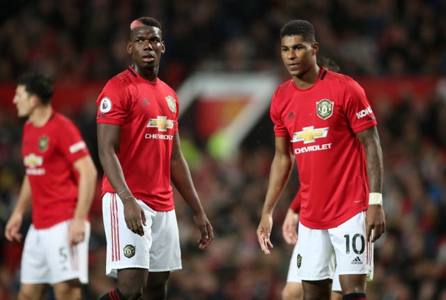 Paul Pogba, left, and Marcus Rashford