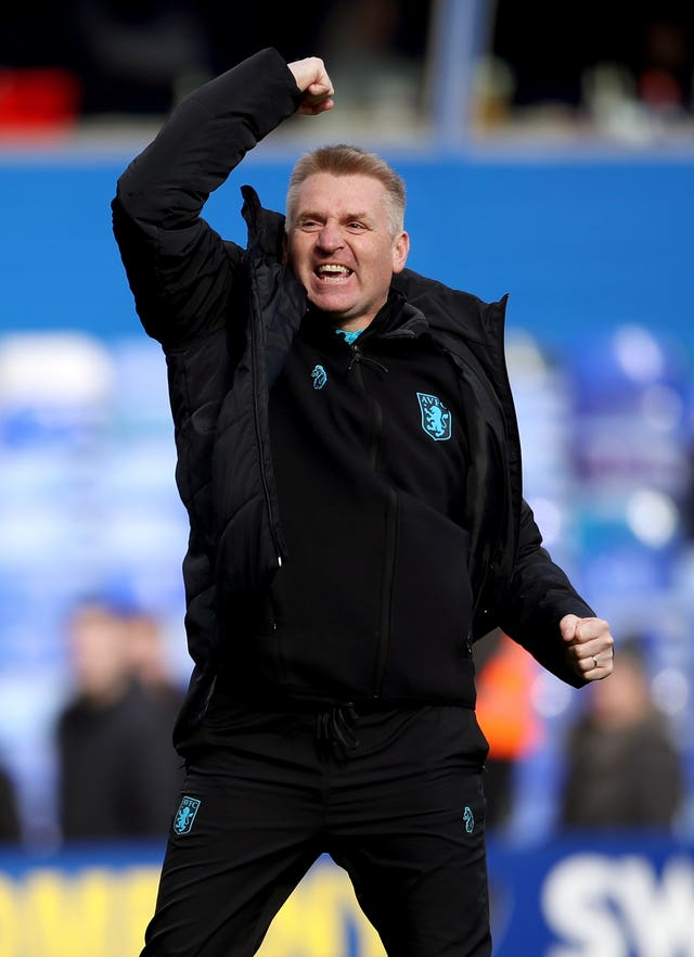 Aston Villa manager Dean Smith celebrates victory over Birmingham