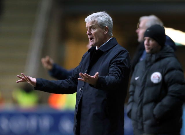 Hughes shows his frustration on the touchline during Stoke's FA Cup defeat at Coventry in 2018
