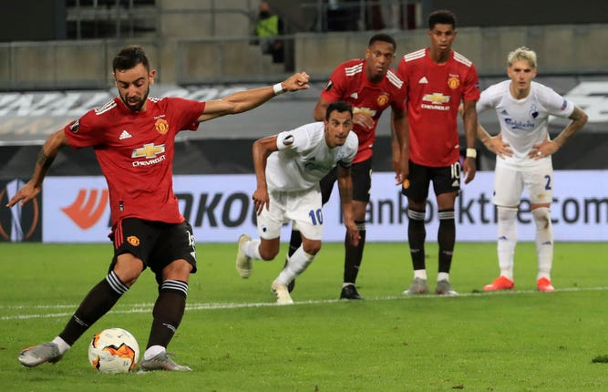 Bruno Fernandes fired Manchester United into the Europa League semi-finals with the only goal against FC Copenhagen