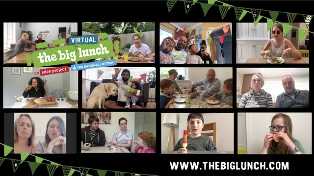 Screengrab of people taking part in The Big Lunch