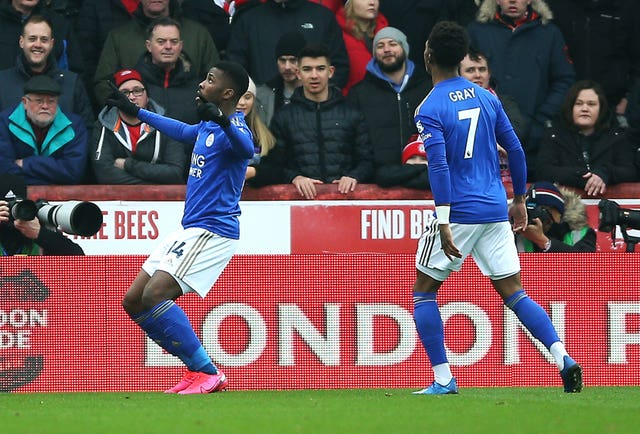 Kelechi Iheanacho (left) has scored seven goals in 12 appearances for Leicester this season