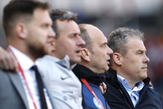 Slovakia manager Pavel Hapal, right, was disappointed not to get a point