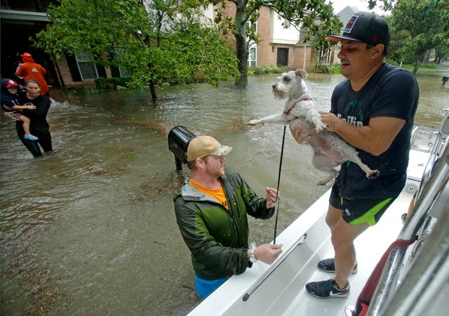 Volunteers evacuate people and pets from a neighborhood inundated by floodwaters from Tropical Storm Harvey