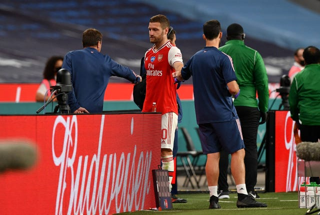 Shkodran Mustafi limped out of Arsenal's FA Cup semi-final win over Manchester City with a hamstring injury.