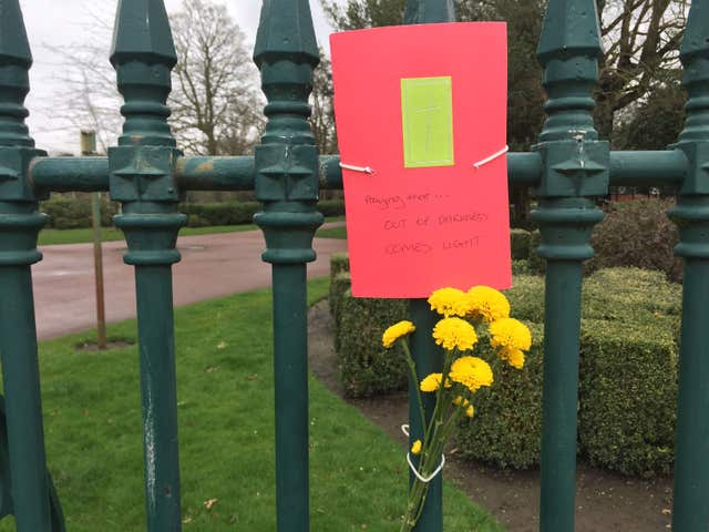 A tribute in West Park to 14-year-old Viktorija Sokolova