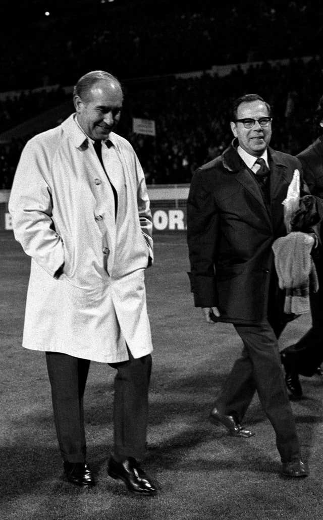 Sir Alf Ramsey leaves the pitch after what proved to be his final match as England manager