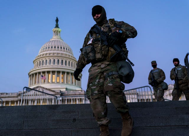 National Guard troops reinforce the security zone on Capitol Hill