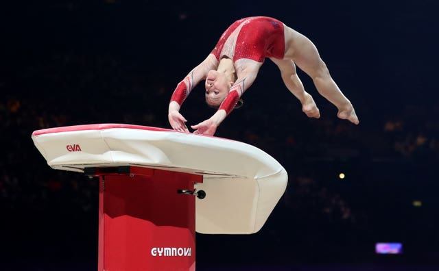 France's Carolann Heduit in action on the vault during the Gymnastics World Cup in Birmingham