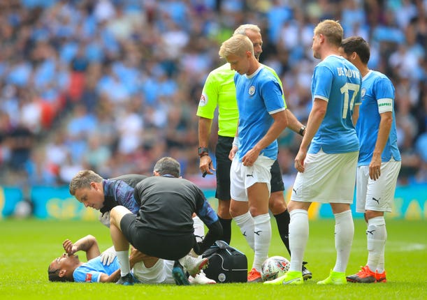 Sane suffered cruciate ligament damage in the Community Shield clash with Liverpool last August (Adam Davy/PA).