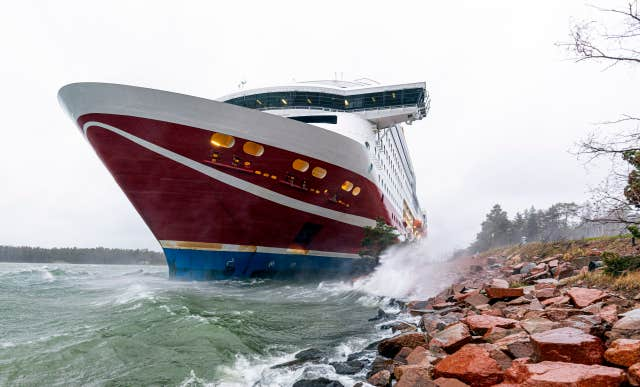 The cruise ship Viking Grace has run aground