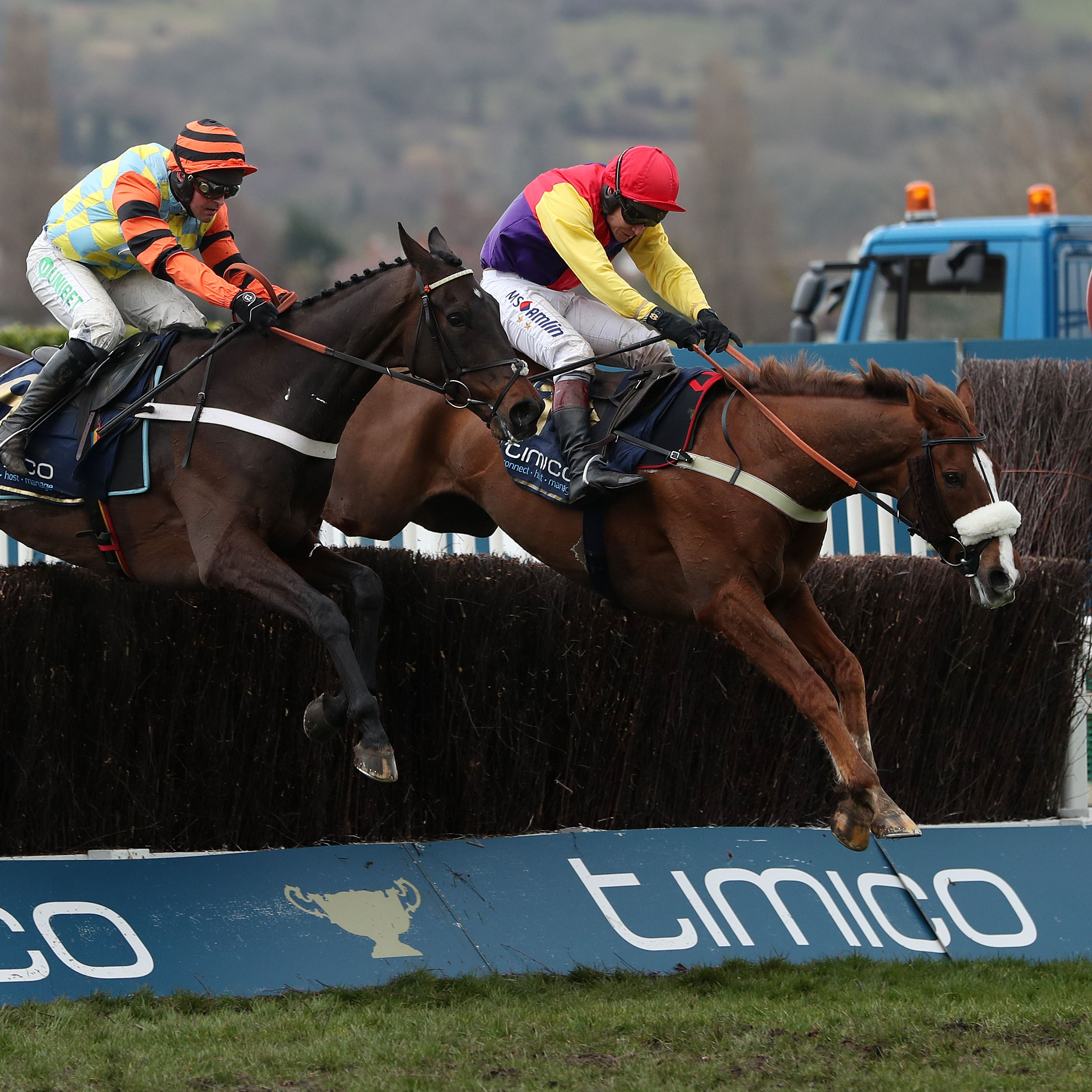 Native River (right) on his way to winning last year's Gold Cup