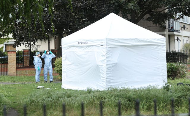A forensic tent at the scene in Tower Hamlets