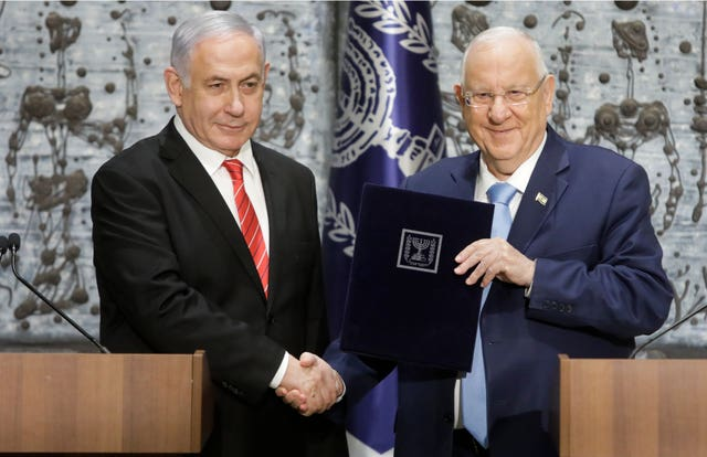 Mr Netanyahu with Reuven Rivlin
