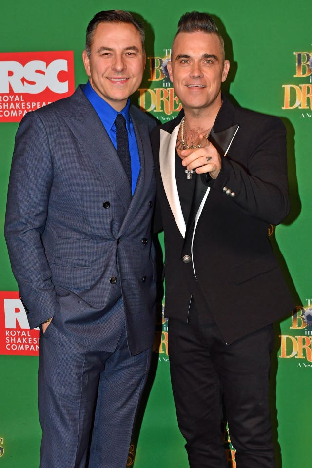 David Walliams and Robbie Williams attending the opening night of The Boy In The Dress