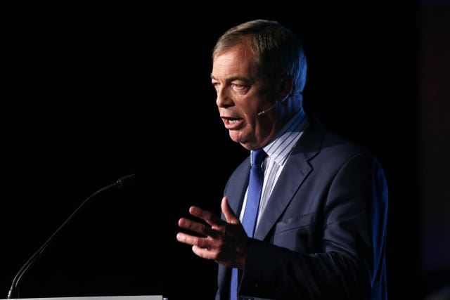 Leader of the Brexit Party Nigel Farage accused Mr Johnson of putting 'lipstick on the pig' of his predecessor's deal (Jonathan Brady/PA)Brexit