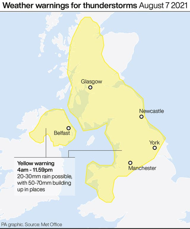 Weather warnings for thunderstorms August 7 2021