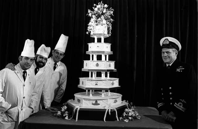 Charles and Diana's wedding cake made by the Royal Navy's Cookery School (PA)