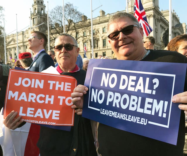 Brexit demonstrators Les Curtis and Ray Finch in Parliament Square