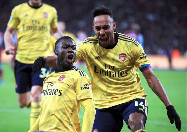 Nicolas Pepe (left) and Pierre-Emerick Aubameyang (right) were on the scoresheet for Arsenal