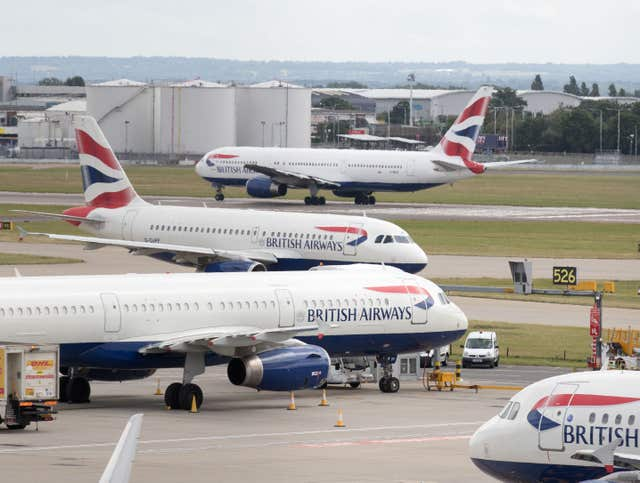 BA planes on runway