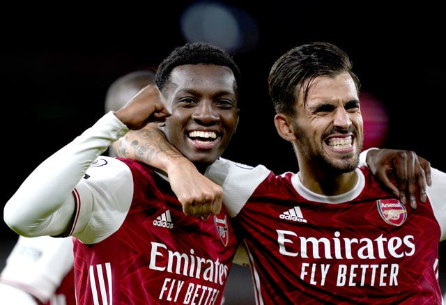 Eddie Nketiah, left, was the match-winner for Arsenal