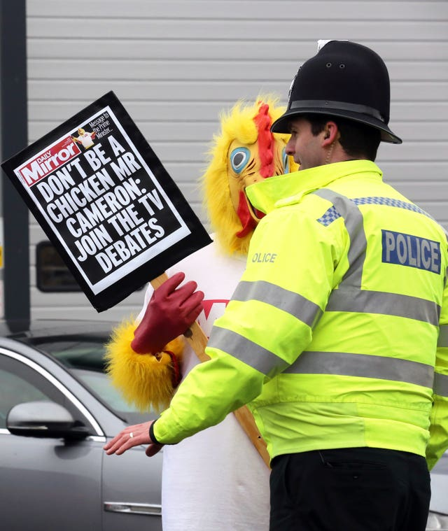 The chicken costume being worn during the general election campaign in 2015