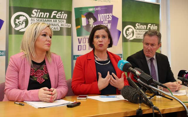 Sinn Fein's vice president Michelle O'Neill, left, president Mary Lou McDonald and Conor Murphy at a press conference at Parliament Buildings (Niall Carson/PA)