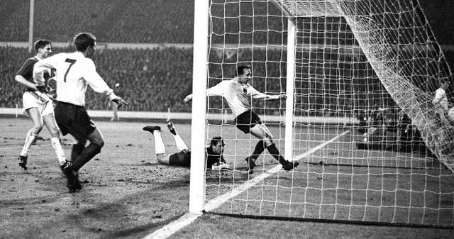 Stiles nets a goal for England against West Germany in February 1966
